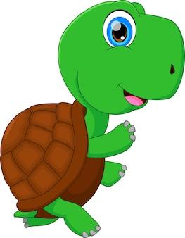 Ładny zielony żółw kreskówka