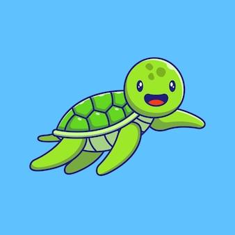 Ładny zielony żółw macha ręką ilustracja. żółw kreskówka maskotka zwierząt na białym tle.