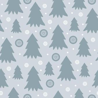 Ładny zimowy wzór z kreskówkowymi choinkami i płatkami śniegu w płaski na greyblue