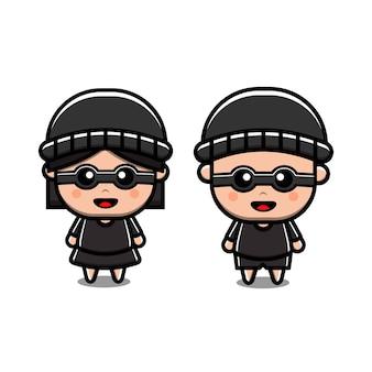 Ładny złodziej chłopiec i dziewczynka para ikona ilustracja wektorowa. odosobniony. styl kreskówki odpowiedni do naklejek, stron docelowych w sieci web, banerów, ulotek, maskotek, plakatów.