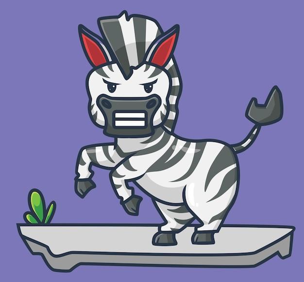 Ładny zły zebra kreskówka zwierzę natura koncepcja na białym tle ilustracja płaski styl