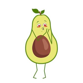 Ładny znak awokado zakochuje się w oczach serca na białym tle. zabawny lub smutny bohater, zielone owoce i warzywa. płaskie ilustracji wektorowych