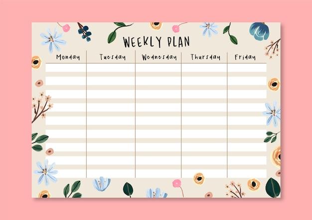Ładny żółty i niebieski kwiatowy tygodniowy plan