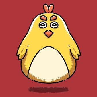 Ładny żółty kurczak w stylu kreskówki
