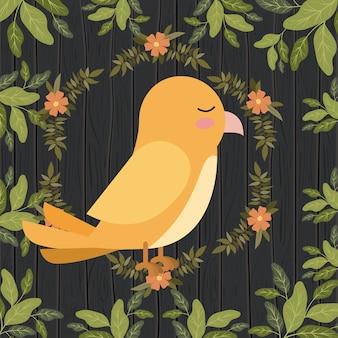 Ładny żółty ptak w scenie scape lasu