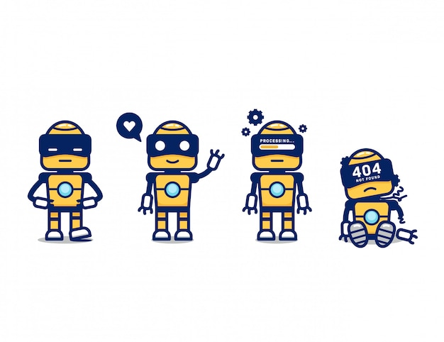 Ładny żółty robot retro ai postać z kreskówki maskotka stanowią zestaw