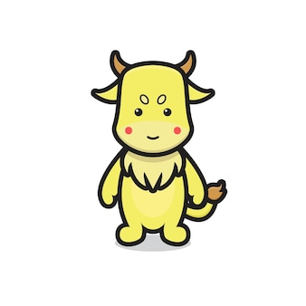 Ładny żółty wół maskotka. projekt na białym tle.