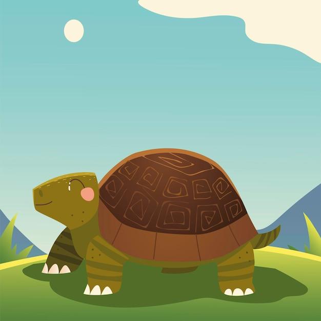 Ładny żółw kreskówka na ilustracji trawy