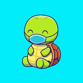 Ładny żółw noszenie maski kreskówka wektor ikona ilustracja. zdrowie zwierząt ikona koncepcja białym tle premium wektor. płaski styl kreskówki