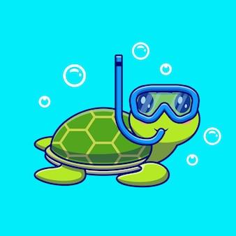 Ładny żółw nurkowanie w postaci z kreskówek morza. natura zwierząt na białym tle.