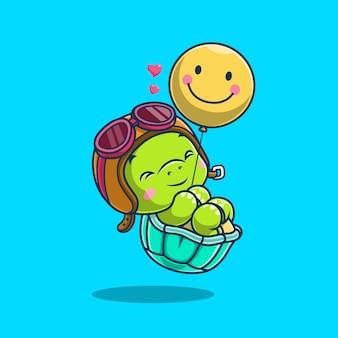 Ładny żółw pływający z balonem na niebieskim tle