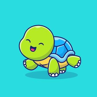 Ładny żółw robi joga ilustracja kreskówka ikona. koncepcja ikona sportu zwierząt premium. styl kreskówki