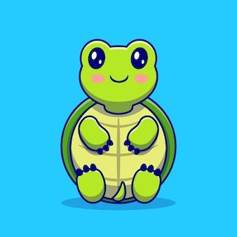 Ładny żółw siedzieć kreskówka. koncepcja ikona miłości zwierząt na białym tle. płaski styl kreskówki