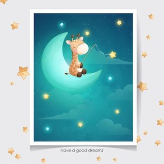Ładny żyrafa doodle z akwarela ilustracja