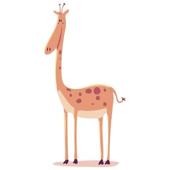Ładny żyrafa ilustracja kreskówka na białym tle na białym tle.