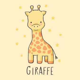 Ładny żyrafa kreskówka ręcznie rysowane stylu