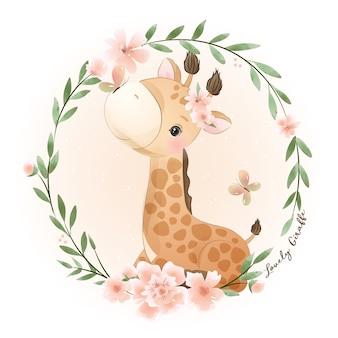 Ładny żyrafa z kwiatową ilustracją