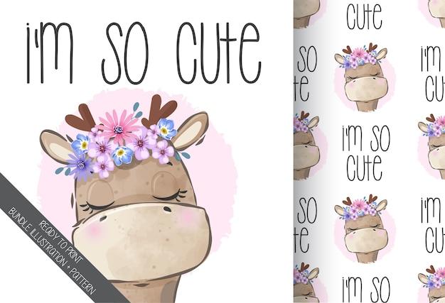 Ładny żyrafa zwierząt ładny wzór kwiaty