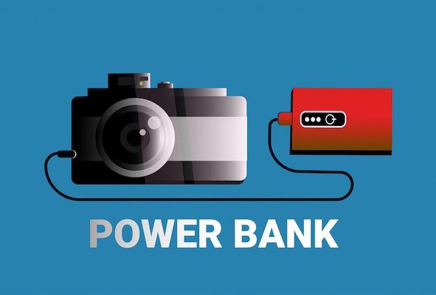 Ładowanie aparatu z power bank koncepcja przenośnej ładowarki przenośne urządzenie akumulatorowe