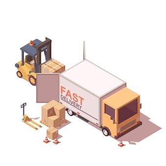 Ładowanie ciężarówki. obejmuje wózek widłowy, podnośnik paletowy, samochód dostawczy i kartony.