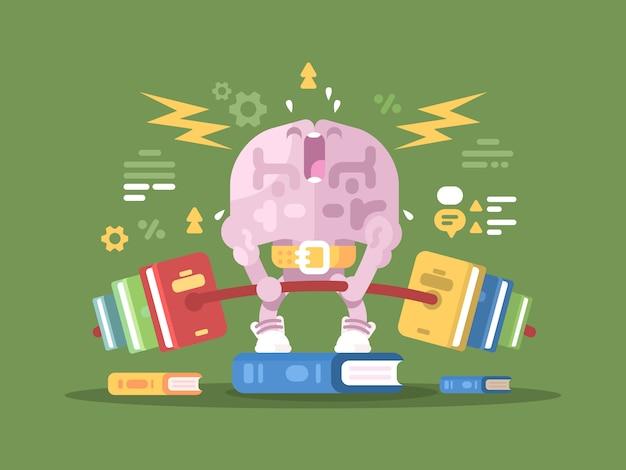 Ładowanie dla mózgu. mózgi postaci podnoszącej ciężary z książkami. ilustracja