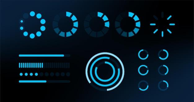 Ładowanie elementów hud. futurystyczny szablon. projekt wektorowy