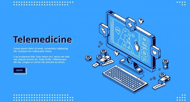 Lądowanie izometryczne telemedycyny, medycyna internetowa