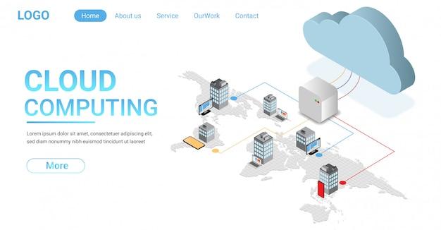 Lądowanie koncepcji cloud computing. niektóre elementy tego obrazu dostarczone przez nasa