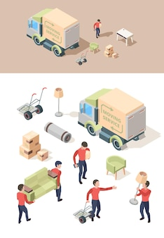 Ładowanie mebli. transportowanie pojazdu wyprowadza meble w nowym domu, podnosząc skrzynie, wektor ludzie pracujący izometrycznie. zilustruj usługę relokacji, dostarcz ładunek furgonetki