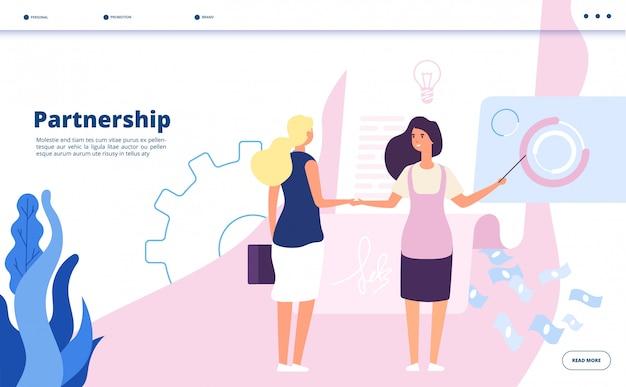 Lądowanie partnerskie. korporacyjny plan partnerstwo lider firmy umowy biznesowe strategia rozpoczęcie współpracy koncepcja