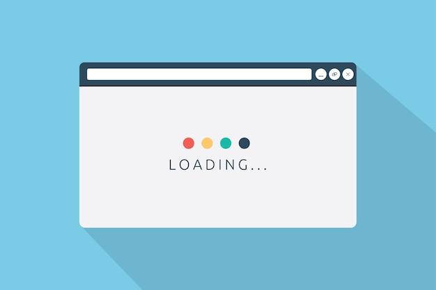 Ładowanie przeglądarki strony w stylu płaskim