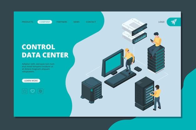 Lądowanie serwera danych. elementy oprogramowania i sprzętu dla globalnych magazynów usług komputerowych ethernet wektor izometryczny serwer. ilustracja sprzętowy serwer obliczeniowy, pamięć internetowa