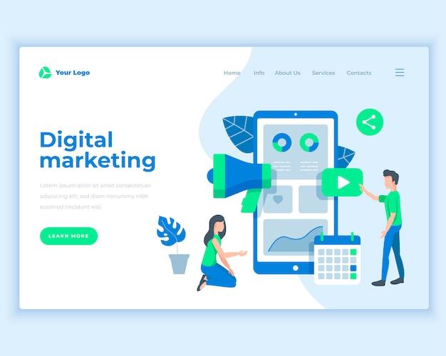 Lądowanie szablon strony cyfrowej koncepcji marketingowej z ludzi biurowych.