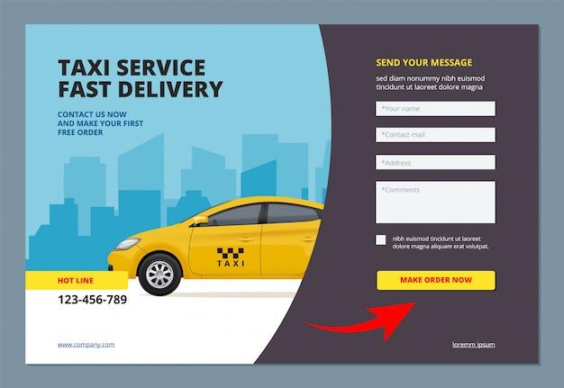 Lądowanie taksówki. rezerwacja usługi promocyjnej samochodu miejskiego z formularzem internetowym umożliwiającym złożenie zamówienia szablonu układu strony internetowej