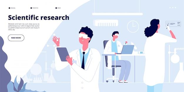 Lądowanie w badaniach naukowych. studenci w białym fartuchu, chemicy - lekarze ze sprzętem laboratoryjnym