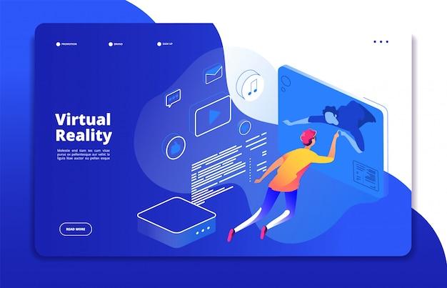 Lądowanie w wirtualnej rzeczywistości. ludzie cyfrowej mobilnej rozrywki rzeczywistości rozszerzonej mężczyzna słuchawki wirtualnej sieci interaktywny pojęcie