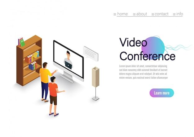 Lądowanie wideokonferencji. ludzie na ekranie komputera biorący z kolegą. strona wektorowa obszaru roboczego wideokonferencji i spotkań online