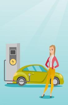 Ładowanie z ilustracji wektorowych samochód elektryczny.