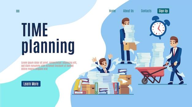 Lądowanie z zarządzaniem czasem. zatrzymaj niezorganizowaną stronę internetową dla efektywnego biznesu