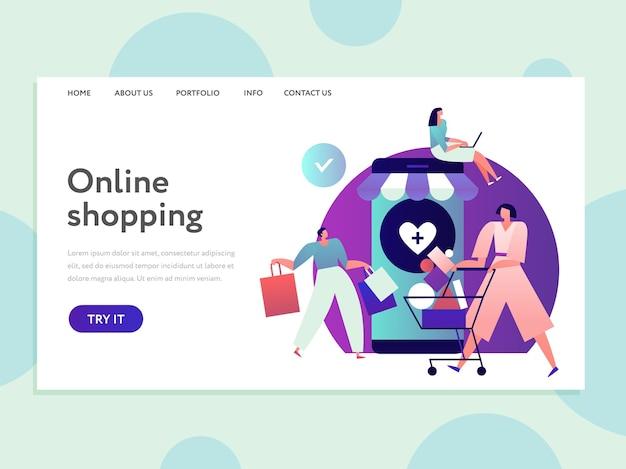 Lądowanie zakupów online. zakupy przez internet i łatwa dostawa. e-commerce i projektowanie stron internetowych z bezpiecznymi transakcjami. internetowy sklep marketingowy, zakup na ilustracji w sklepie internetowym