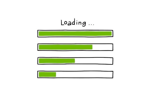 Ładowanie zestawu elementów doodle paska. ręcznie rysowane styl szkicu linii. powolna prędkość pobierania, stan postępu, koncepcja paska obciążenia internetu. ilustracja na białym tle wektor.