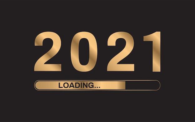 Ładowanie złotego paska postępu 2021 r. koncepcja szczęśliwego nowego roku.