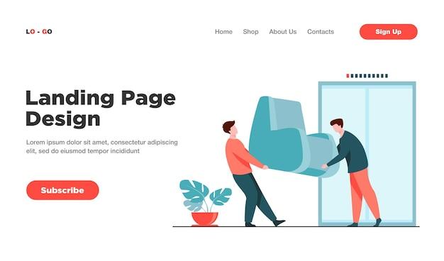 Ładowarki przewożące meble podczas przenoszenia landing page