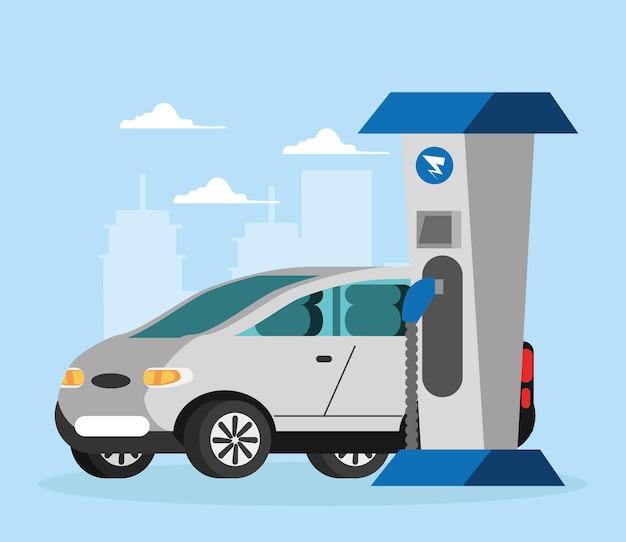Ładuj energię elektryczną samochodu elektrycznego