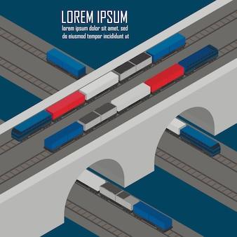 Ładuje pociągi przy stacyjną izometryczną ilustracją