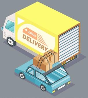 Ładunek doręczeniowa ciężarówka i samochód z pudełkami wektorowymi