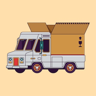 Ładunek dostawy ciężarówka z otwartym carboard wektoru linii ilustracją