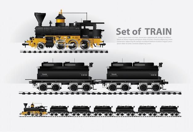 Ładunek pociąg na sztachetowej drogi wektoru ilustraci