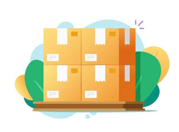 Ładunków pudełek paletowa sterta dla magazynowego wektorowego mieszkania na kolorowym tle