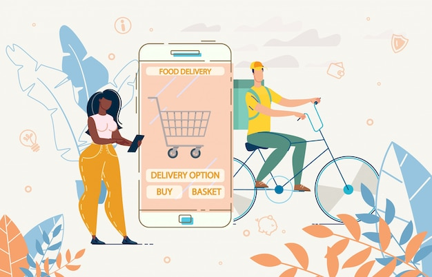 Lady użyj aplikacji mobilnej do ilustracji zamówienia koszyka żywności